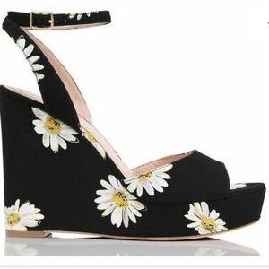 Kate spade black daisy wedge platforms